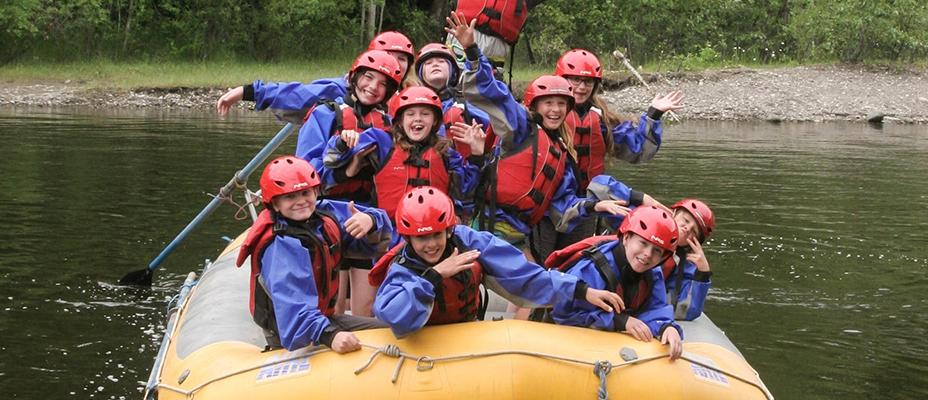 Kids river rafting
