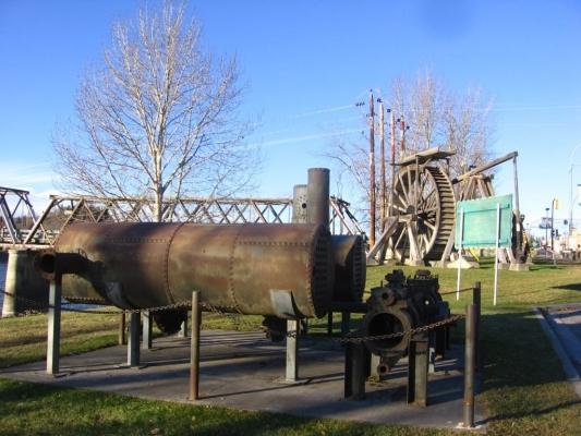 Ceal Tingley Memorial Park-Heritage Corner - Boiler and Water Wheel